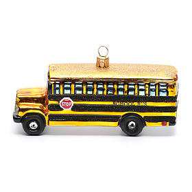 Blown glass Christmas ornament, school bus s2