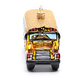 Blown glass Christmas ornament, school bus s4