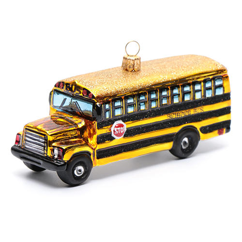 Blown glass Christmas ornament, school bus 1