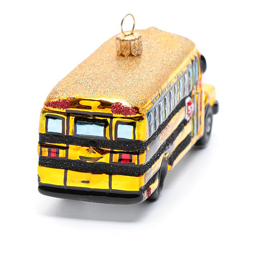 Blown glass Christmas ornament, school bus 3