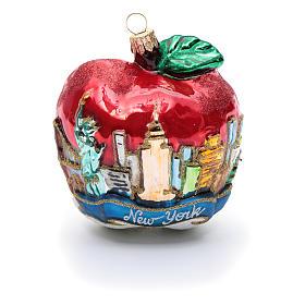 Blown glass Christmas ornament, New York Apple s5