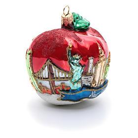 Blown glass Christmas ornament, New York Apple s8