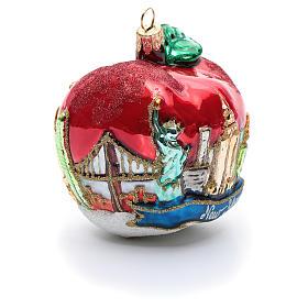 Blown glass Christmas ornament, New York Apple s4