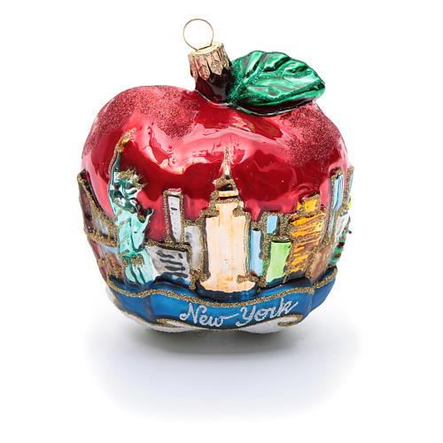 Blown glass Christmas ornament, New York Apple 5