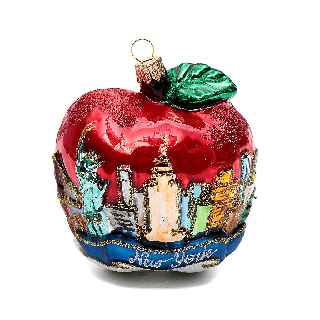 Blown glass Christmas ornament, New York Apple | online ...