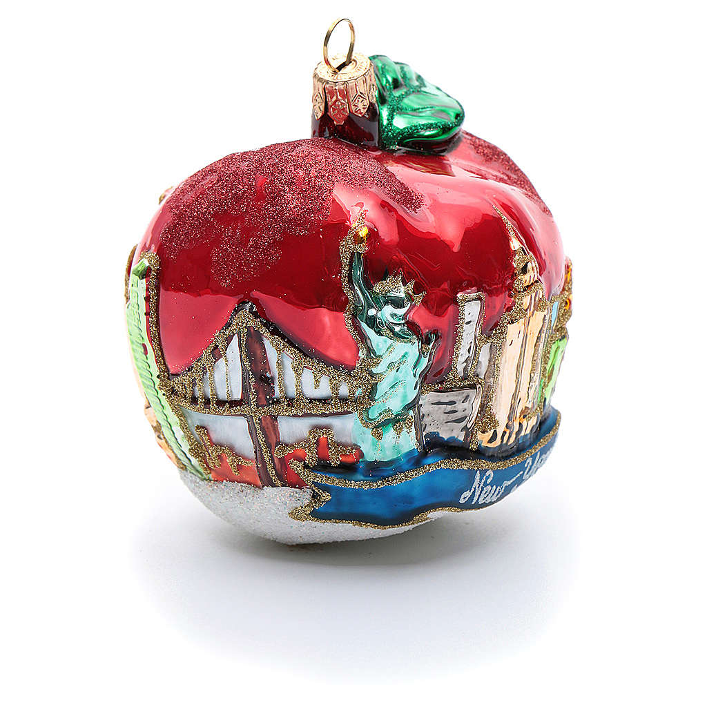 Nyc Christmas Tree Delivery: Blown Glass Christmas Ornament, New York Apple