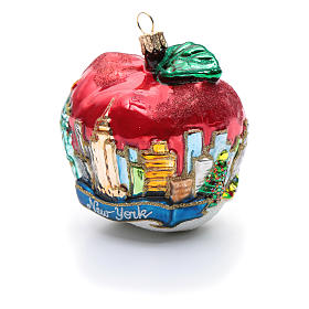Blown glass Christmas ornament, New York Apple s6