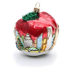 Blown glass Christmas ornament, New York Apple s7