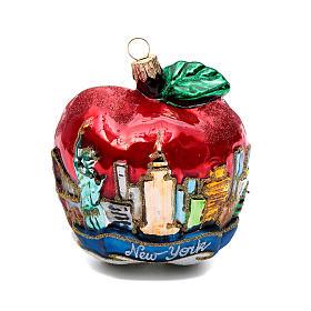 Blown glass Christmas ornament, New York Apple s1