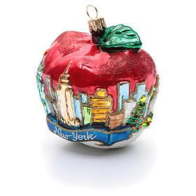 Blown glass Christmas ornament, New York Apple s2
