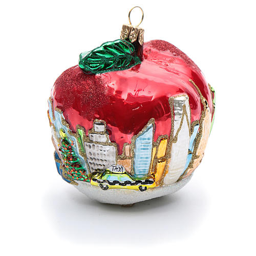 Blown glass Christmas ornament, New York Apple 3