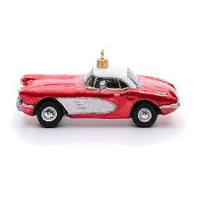 Blown glass Christmas ornament, classic roadster s2