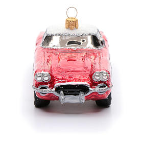 Blown glass Christmas ornament, classic roadster s4