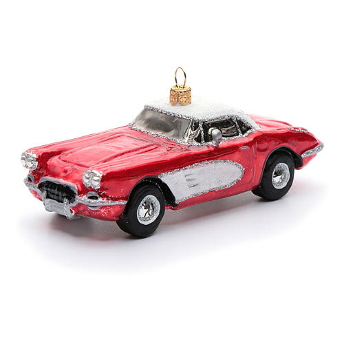 Blown glass Christmas ornament, classic roadster 1