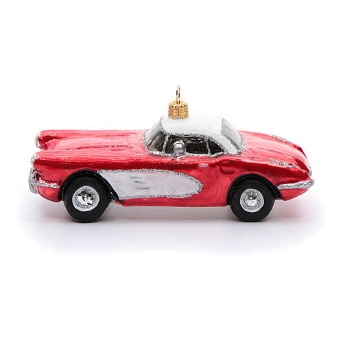 Blown glass Christmas ornament, classic roadster 2
