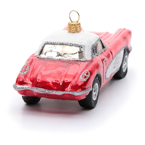 Blown glass Christmas ornament, classic roadster 3