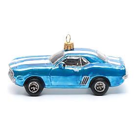 Décoration verre soufflé pour sapin Mustang bleue s2