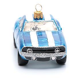 Décoration verre soufflé pour sapin Mustang bleue s4