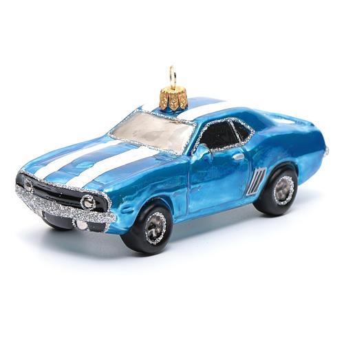 Décoration verre soufflé pour sapin Mustang bleue 1