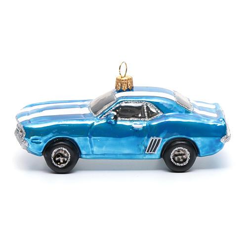 Décoration verre soufflé pour sapin Mustang bleue 2