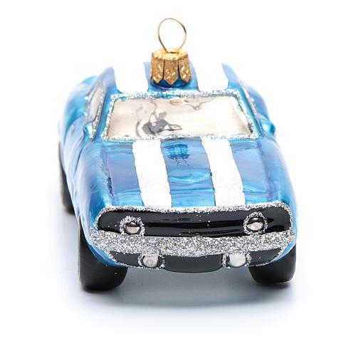Décoration verre soufflé pour sapin Mustang bleue 4