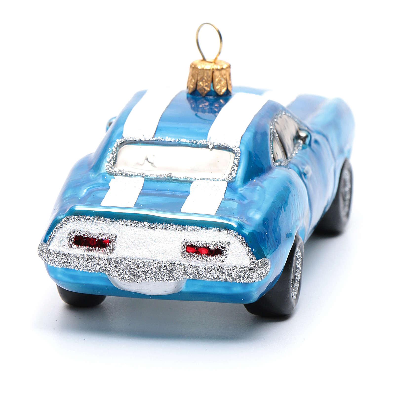 Mustang blu decorazione vetro soffiato Albero Natale 4