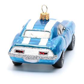 Mustang blu decorazione vetro soffiato Albero Natale s3
