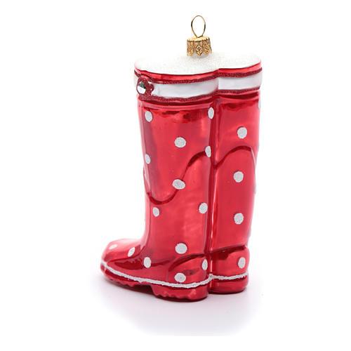 Stivale rosso decorazione vetro soffiato Albero Natale 3