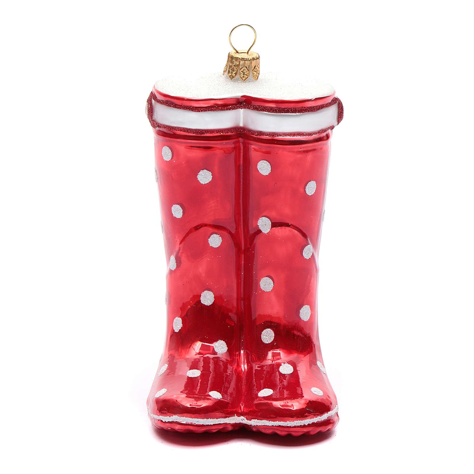 Bota vermelha adorno vidro soprado árvore Natal 4