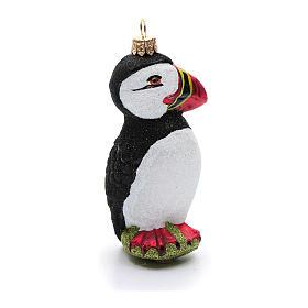 Uccello artico puffino addobbo vetro soffiato Albero Natale s4