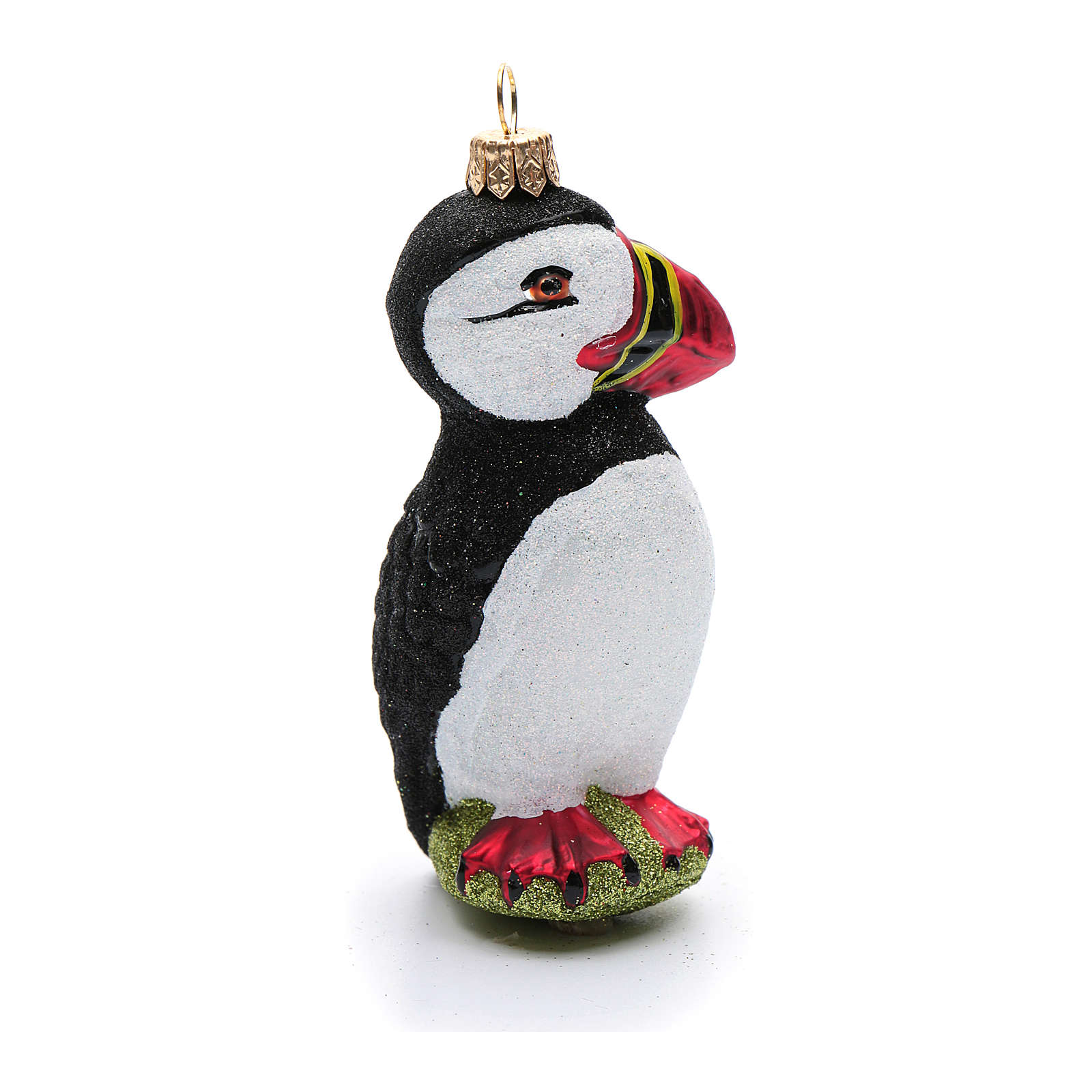 Blown glass Christmas ornament, arctic puffin 4
