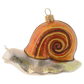 Blown glass Christmas ornament, snail s1