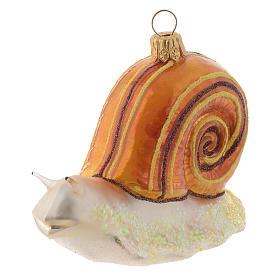 Blown glass Christmas ornament, snail s2
