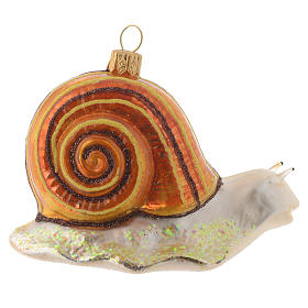 Blown glass Christmas ornament, snail s3