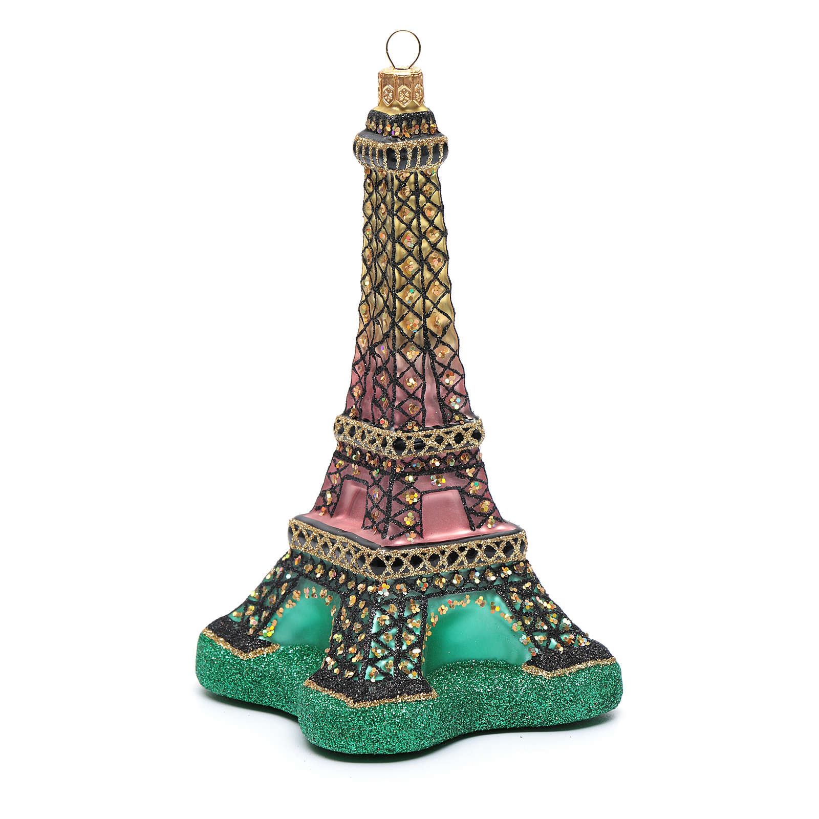 Blown glass Christmas ornament, Eiffel Tower 4