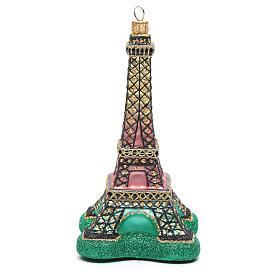 Blown glass Christmas ornament, Eiffel Tower s1