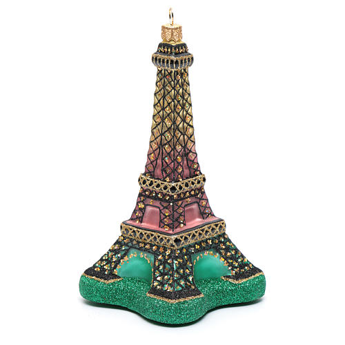 Blown glass Christmas ornament, Eiffel Tower 2