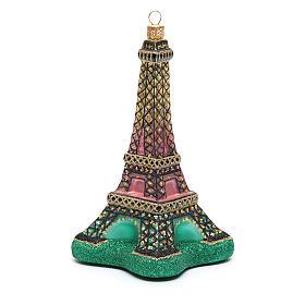 Décoration verre soufflé sapin Noël Tour Eiffel s4