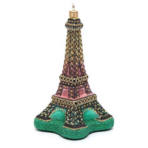 Décoration verre soufflé sapin Noël Tour Eiffel 2