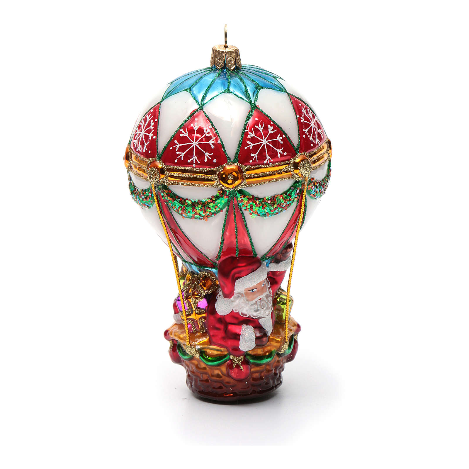 Blown glass Christmas ornament, Santa Claus on hot-air ...