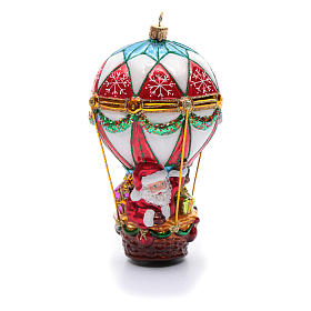 Blown glass ornaments: Blown glass Christmas ornament, Santa Claus on hot-air balloon