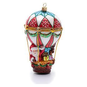 Blown glass Christmas ornament, Santa Claus on hot-air balloon s2