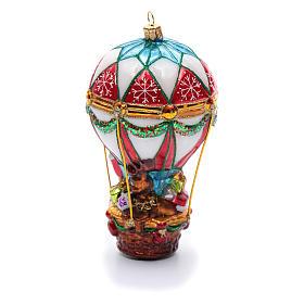 Blown glass Christmas ornament, Santa Claus on hot-air balloon s3