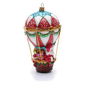 Blown glass Christmas ornament, Santa Claus on hot-air balloon s4