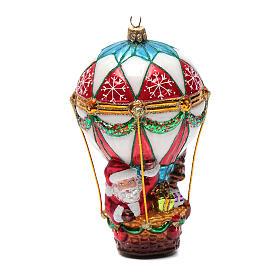Blown glass Christmas ornament, Santa Claus on hot-air balloon s5