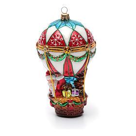 Blown glass Christmas ornament, Santa Claus on hot-air balloon s6