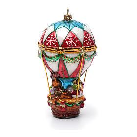 Blown glass Christmas ornament, Santa Claus on hot-air balloon s7