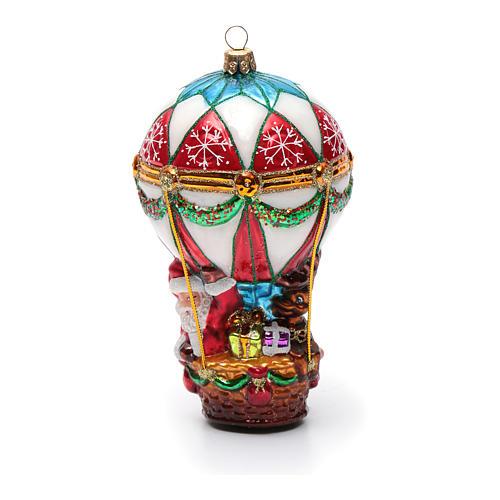 Blown glass Christmas ornament, Santa Claus on hot-air balloon 6