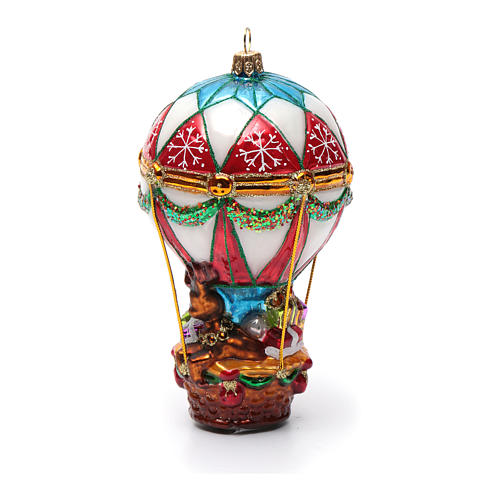 Blown glass Christmas ornament, Santa Claus on hot-air balloon 7