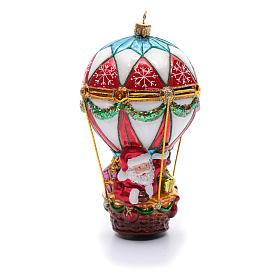 Décoration verre soufflé sapin Noël Père Noël en montgolfière s1